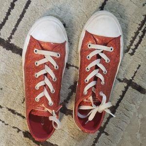 Girls converse red glitter